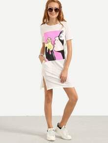 Graphic Print Slit Tee Dress - White