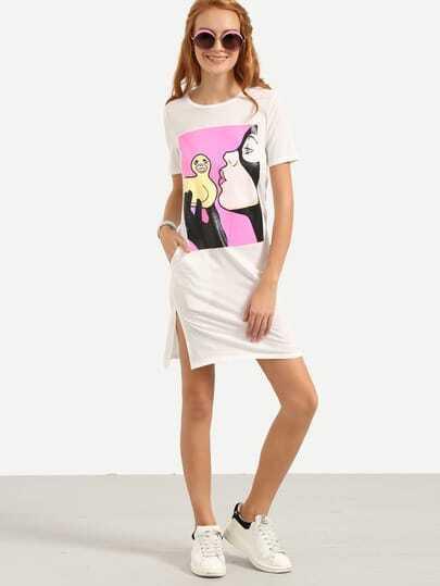 Graphic Print Slit Tee Dress - White
