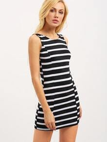 V-Back Black White Striped Tank Dress