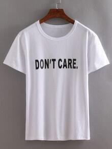 Letter Print White T-shirt