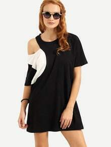 Asymmetric Cutout Shoulder Tee Dress - Black