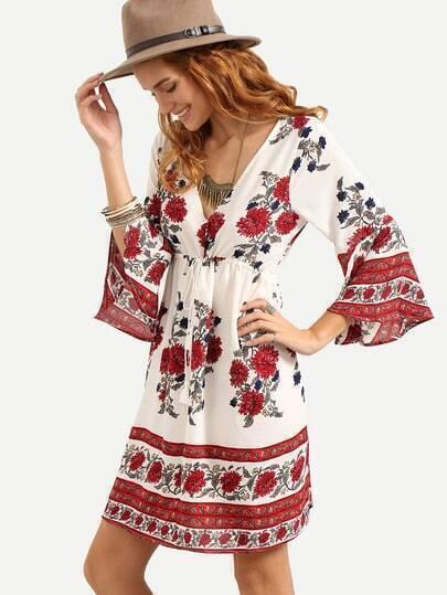 Double V-Neck Drawstring Waist Flower Print Dress - Red