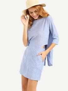 Buttoned Back Vertical Striped Dress - Blue