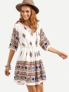 Tie-Neck Elastic Waist Tribal Print Dress - White