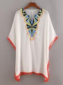 Pom Pom Trimmed Embroidered Poncho White Blouse