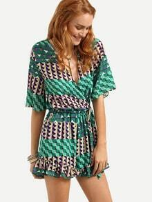 Surplice Front Self-Tie Geometric Print Romper - Green