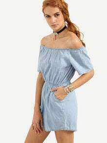 Off-The-Shoulder Elastic Waist Denim Romper - Light Blue