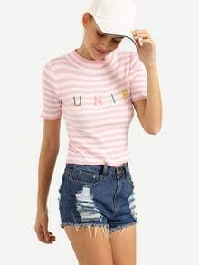 Letter Embroidered Ribbed Knit Striped Top - Pink