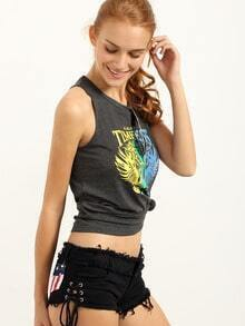 Lace Peace Symbol Back Grey Tank Top