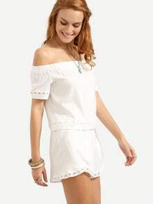 Lace Trimmed Off-The-Shoulder Top With Shorts - White