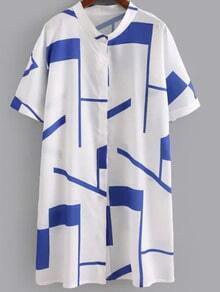 Blue Short Sleeve Buttons Front Geometric Print Dress