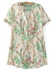 White Short Sleeve Pocket Buttons Front Print Dress