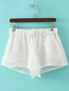 White Elastic Waist Pockets Hollow Lace Shorts