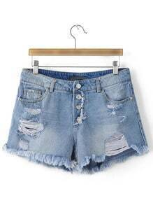 Blue Pockets Buttons Front Fringe Trim Ripped Hole Denim Shorts