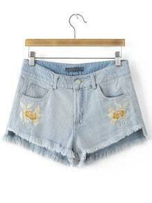 Blue Pockets Embroidery Fringe Trim Denim Shorts