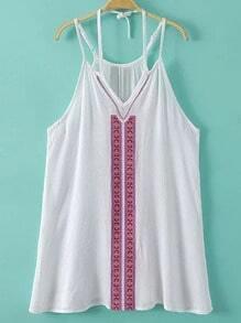 White Halter Embroidery Spaghetti Strap Tank Top