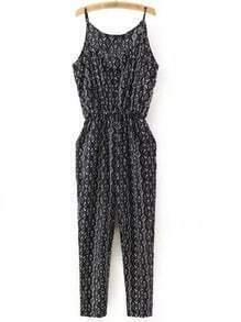 Black Printed Pockets Elastic Waist Spaghetti Strap Jumpsuit