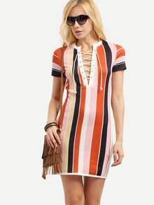 Multicolor Short Sleeve Lace Up Striped Dress