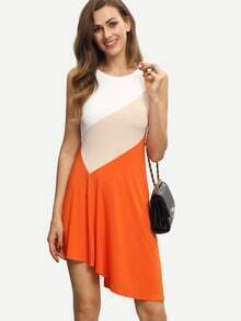 Colorblock Sleeveless Asymmetrical Sun Dress
