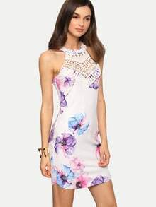 Multicolor Sleeveless Flower Print Bodycon Dress
