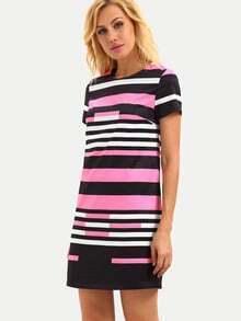 Multicolor Striped Short Sleeve Zip Dress