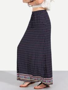 Colorful Vintage Print Pockets Boho Maxi Skirt