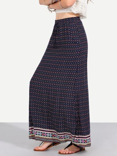 Colorful Vintage Print Pockets Boho Maxi Skirt