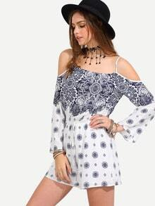 Multicolor Print Cold Shoulder Long Sleeve Boho Jumpsuit