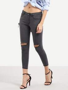 Dark Grey High Waist Ripped Skinny Pants