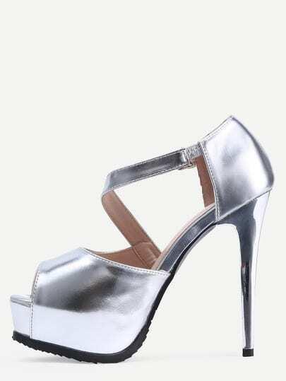 Silver Open Toe Stiletto Mule Sandals