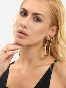 Gold Metal Loop Drop Earrings