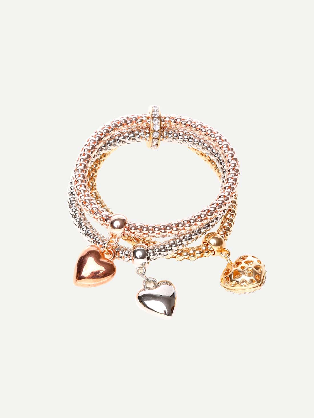 Alloy Multilayer Rhinestone Heart Pendant Bracelet