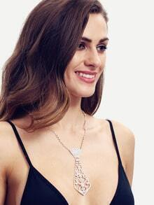 Rhinestone Necktie Shaped Pendant Necklace