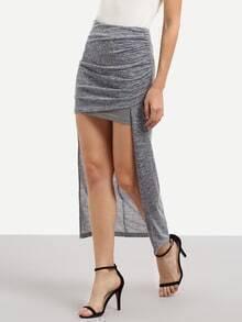 Grey Asymmetrical Pleated Skirt