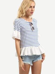 Multicolor Striped Bell Sleeve Ruffle Blouse