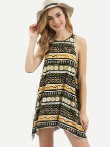 Multicolor Sleeveless Cut-out Asymmetrical Dress