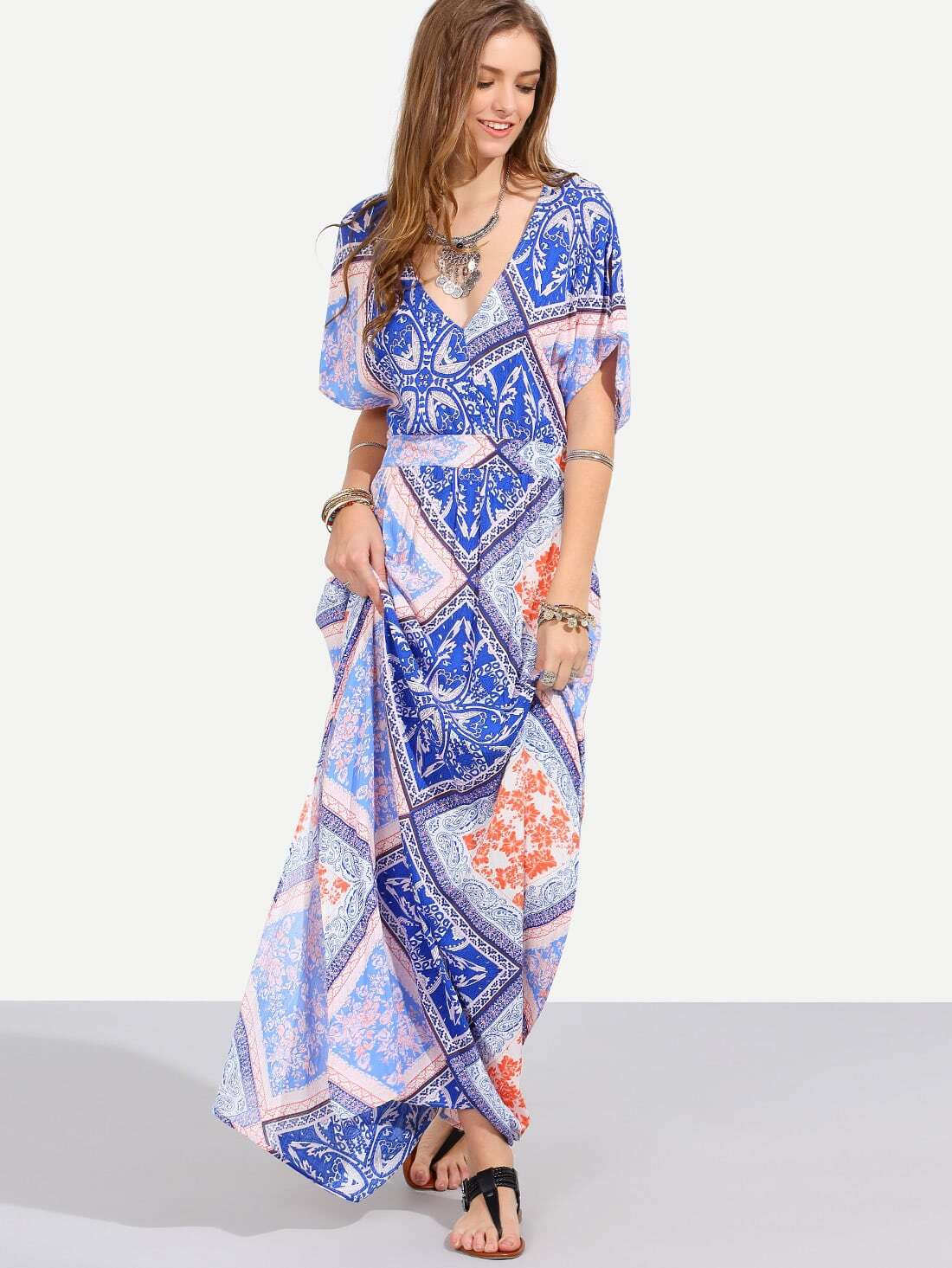 Multicolor Print V Neck Split Side Maxi Dress dress160526720