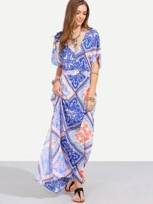 Printed V-Neckline Split Side Full Length Dress