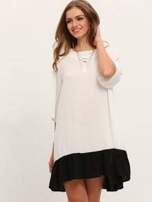 Black White Half Sleeve Shift Dress