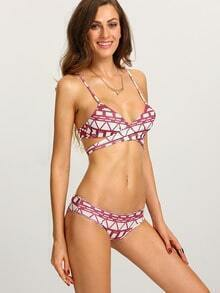 Cross Wrap Geometric Print Bikini Set - Red