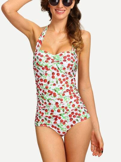 Ruched Cherry Print One-Piece Swimwear - White