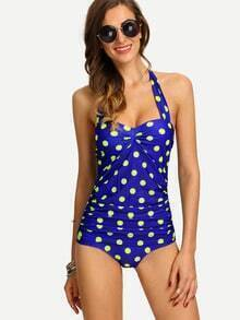 Ruched Polka Dot Print One-Piece Swimwear - Blue