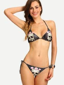 Skull Print Triangle Bikini Set - Black