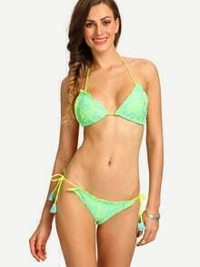 Ruffled Side-Tie Lace Bikini Set - Mint Green