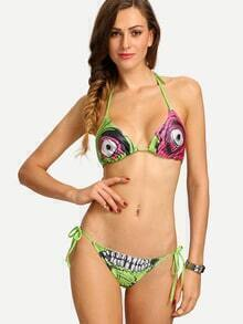 Zombie Print Triangle Bikini Set - Green