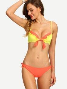 Contrast Shirred Tie-Front Bikini Set