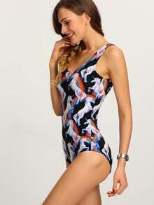 Multicolor Unicorn Print One-Piece Swimwear