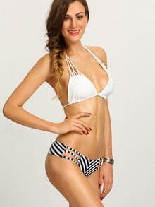Strappy Chevron Print Mix & Match Bikini Set