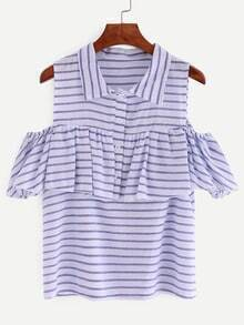 Ruffled Open Shoulder Blue Striped Blouse