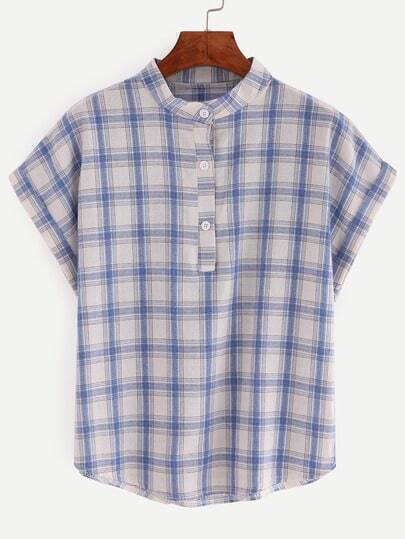blouse plaid col montant manche courte avec boutons bleu. Black Bedroom Furniture Sets. Home Design Ideas